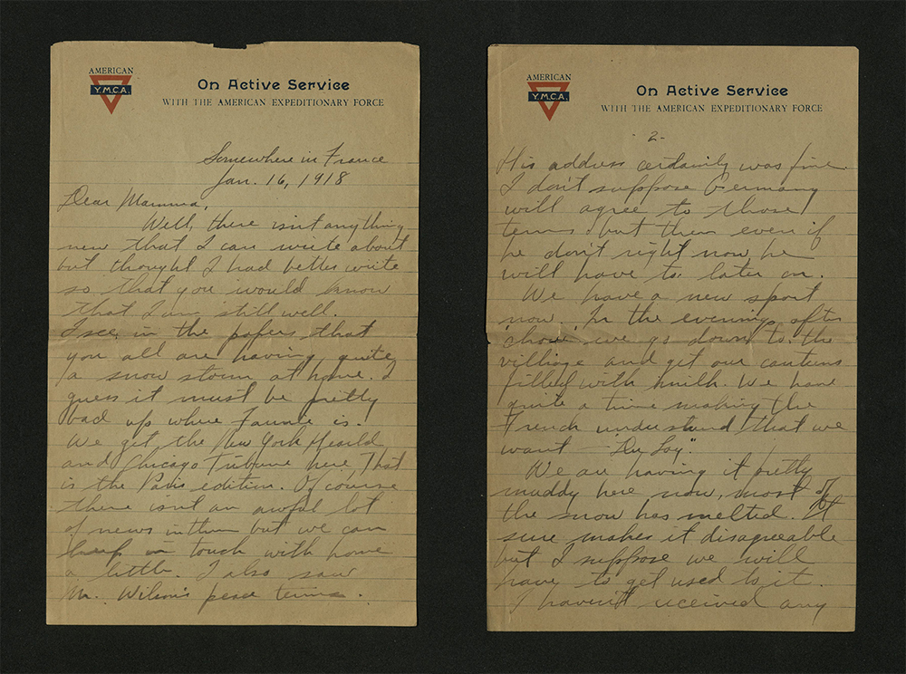 Letter from William J. Putcamp to his mother, dated 16 January 1918