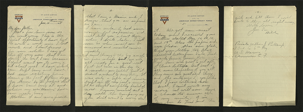 Letter from William J. Putcamp to his mother, dated 16 June 1918