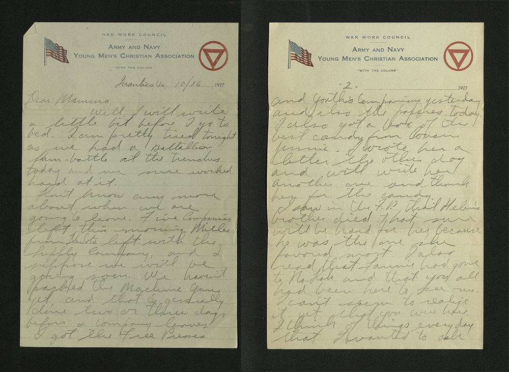 Letter from William J. Putcamp to his mother, dated 16 October 1917