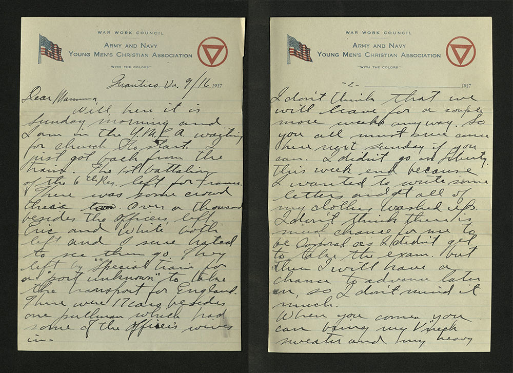 Letter from William J. Putcamp to his mother, dated 16 September 1917