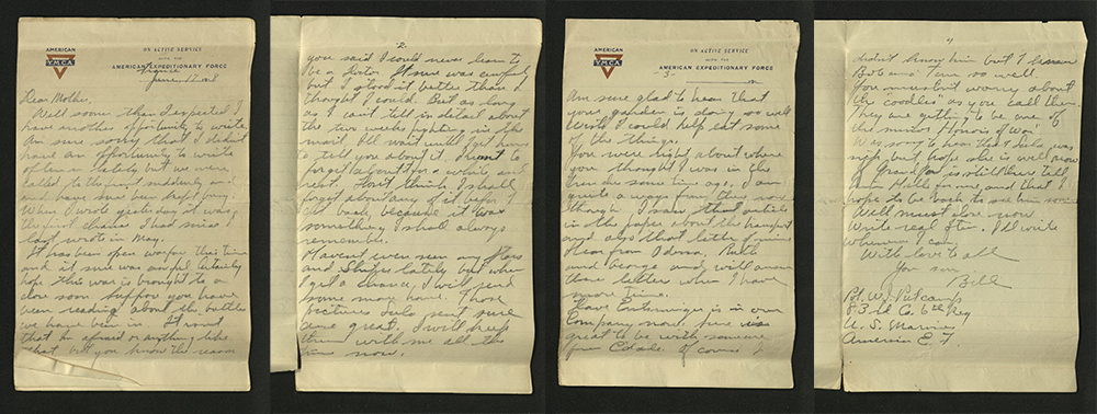 Letter from William J. Putcamp to his mother, dated 17 June 1918