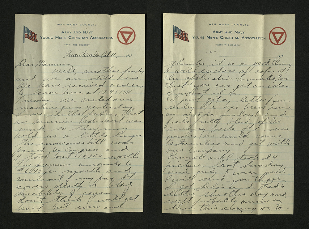 Letter from William J. Putcamp to his mother, dated 21 October 1917