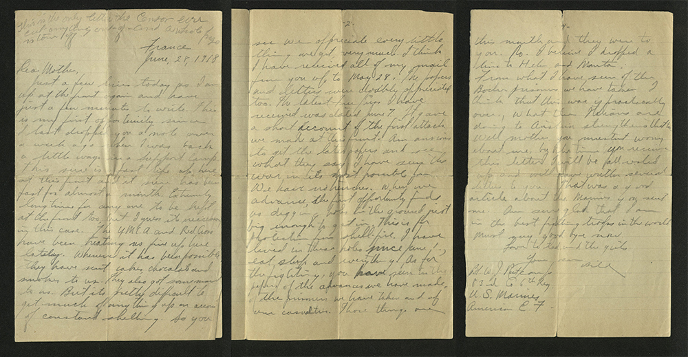 Letter from William J. Putcamp to his mother, dated 28 June 1918