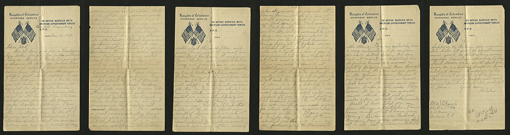 Letter from William J. Putcamp to his father, dated 28 November 1918