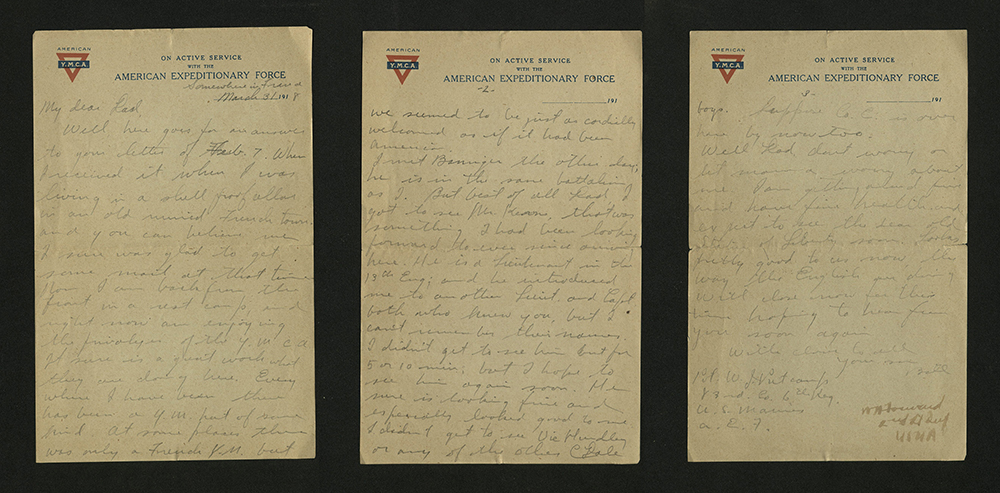 Letter from William J. Putcamp to his father, dated 31 March 1918