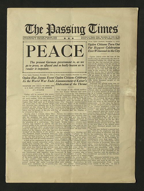 "Front of ""The Passing Times"" newspaper, 1918"
