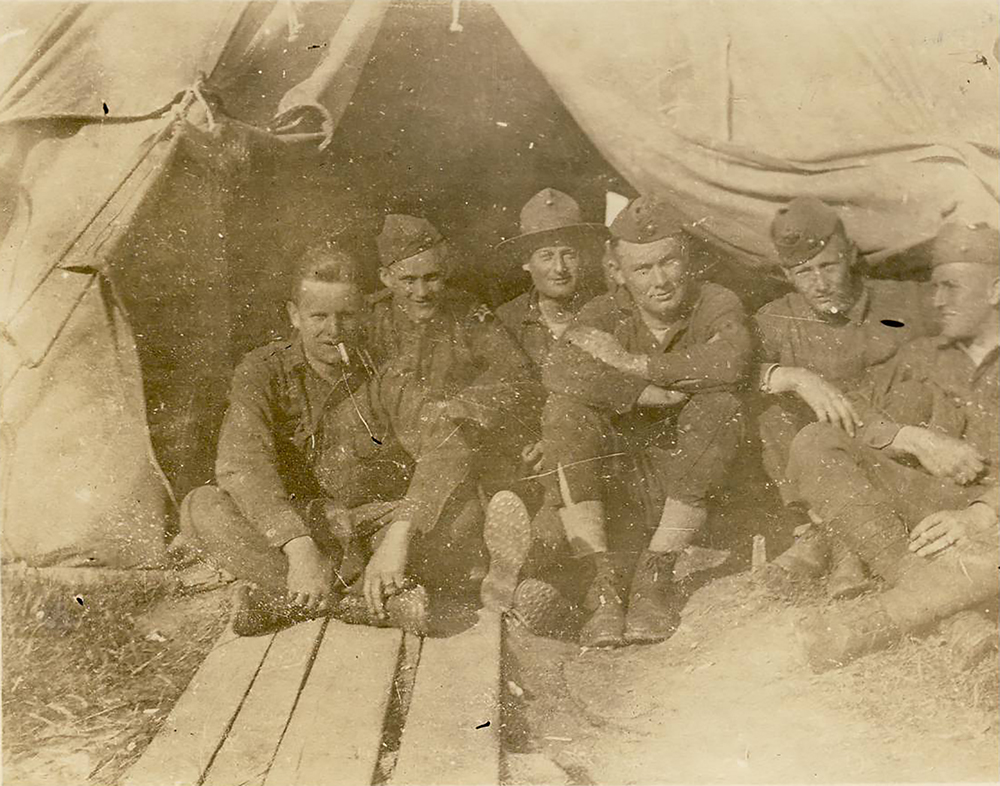 Photograph of William J. Putcamp's with other Marines, Honnigen Range, 1918