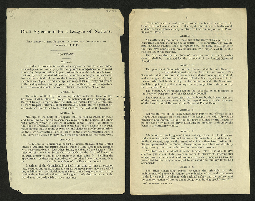 Draft Agreement for a League of Nations, 1919