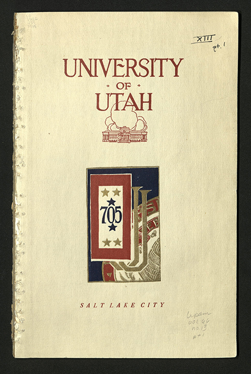Front Cover of University of Utah, Salt Lake City, 1917