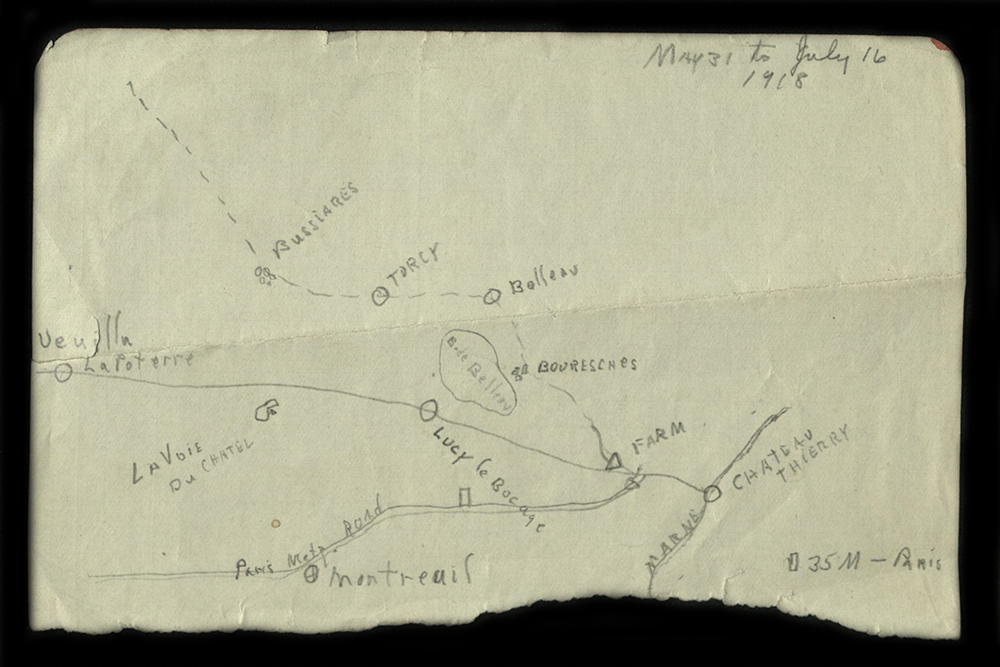 "William J. Putcamp's Hand-drawn map ""May 31 to July 16, 1918"""