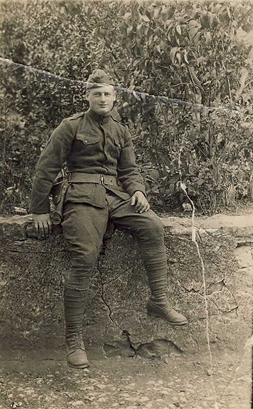 Photograph of William J. Putcamp on his 21st Birthday, Somewhere in France, 6 August 1918