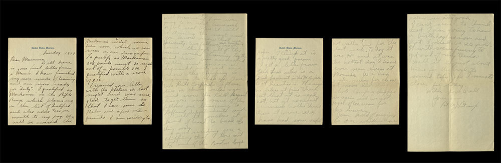 Letter from William J. Putcamp to his mother, dated Sunday 1917