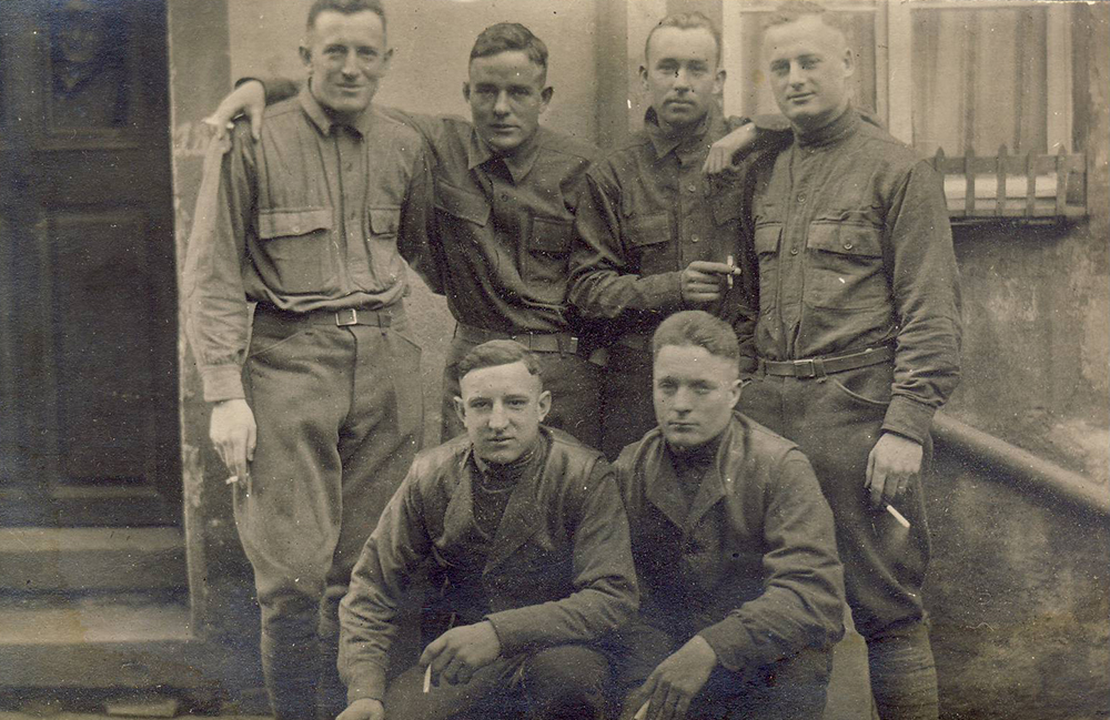 Photograph of William J. Putcamp's with other Marines, Somewhere in France, 1918