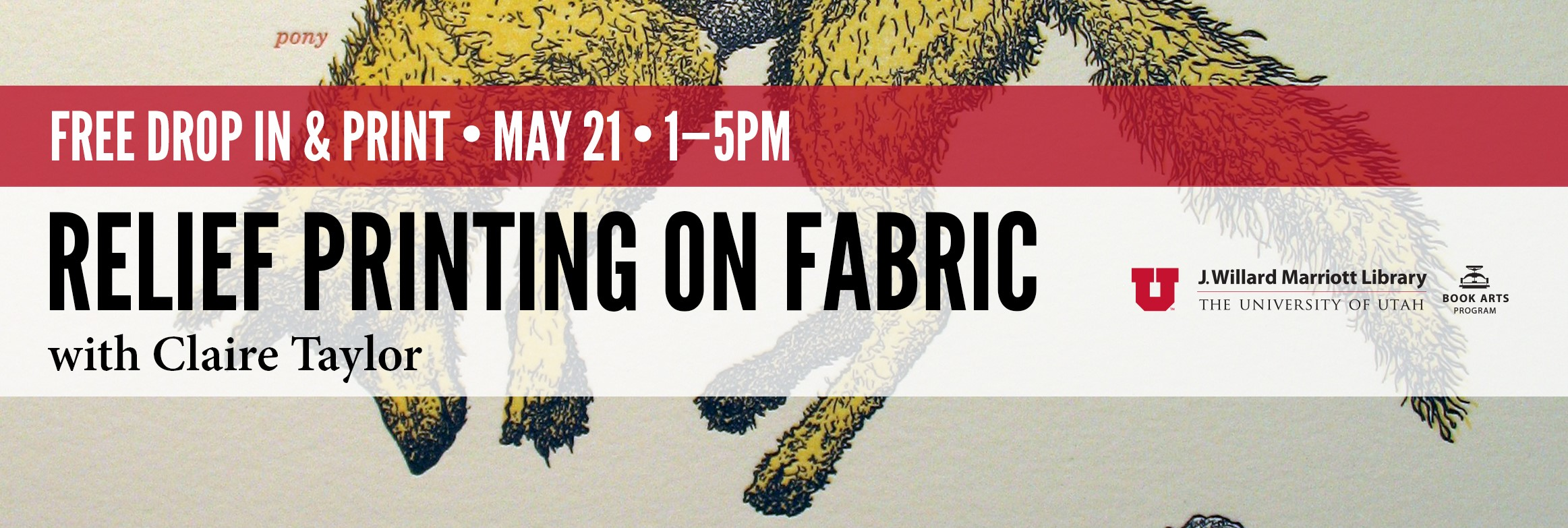 Free Relief Printing on Fabric May 21 1-5pm