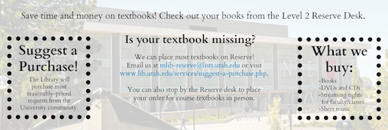 Suggest a Purchase including textbooks