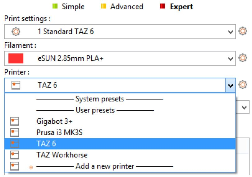 Printer selection and print settings