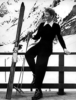 (Claudette Colbert, Hollywood movie star, at Alta, 1940)  [RUTH PEARY Collection, P0377]