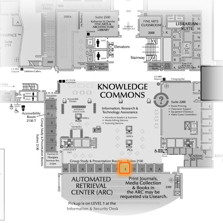 Level 2 Room 2130E highlighted