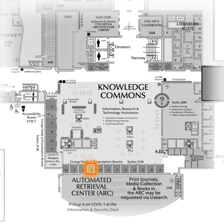 Level 2 Room 2130J highlighted
