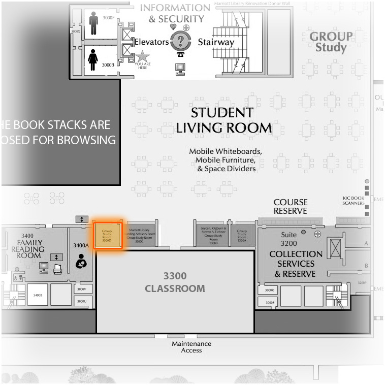 Level 3 Room 3300D highlighted