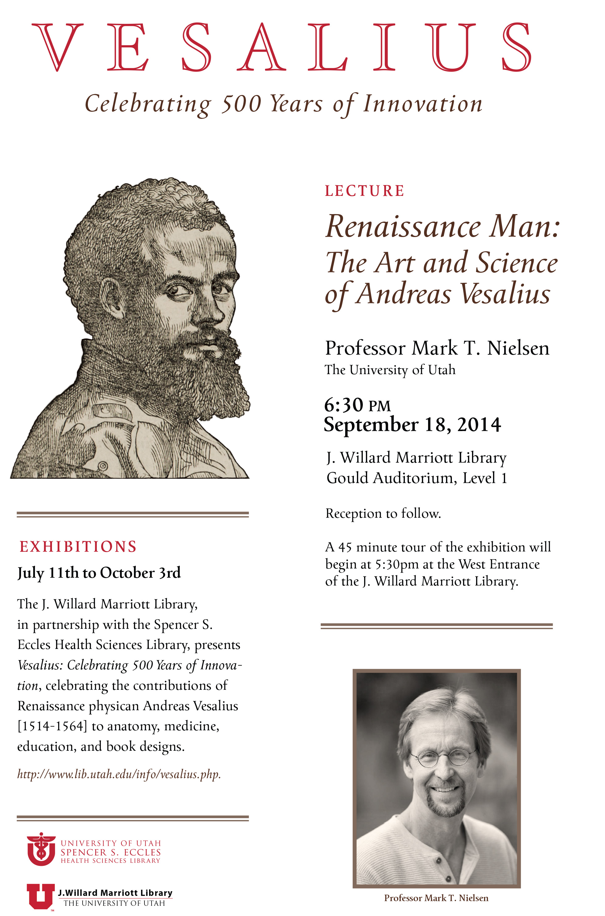 Prof. Mark Nielsen lecture 9/18/2014 at 6:30 pm Gould Auditorium, Level 1 - Lecture poster designed by Jeff Davis