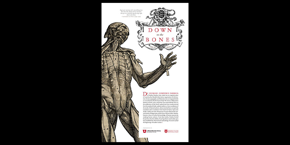 Down to the Bones -- Rare Books Exhibition - Exhibition poster designed by David Wolske