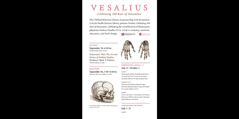 Vesalius: Celebrating 500 Years of Innovation Poster.  Exhibition poster designed by  David Wolske