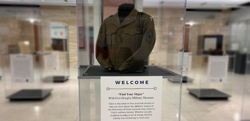 A military uniform in a display case