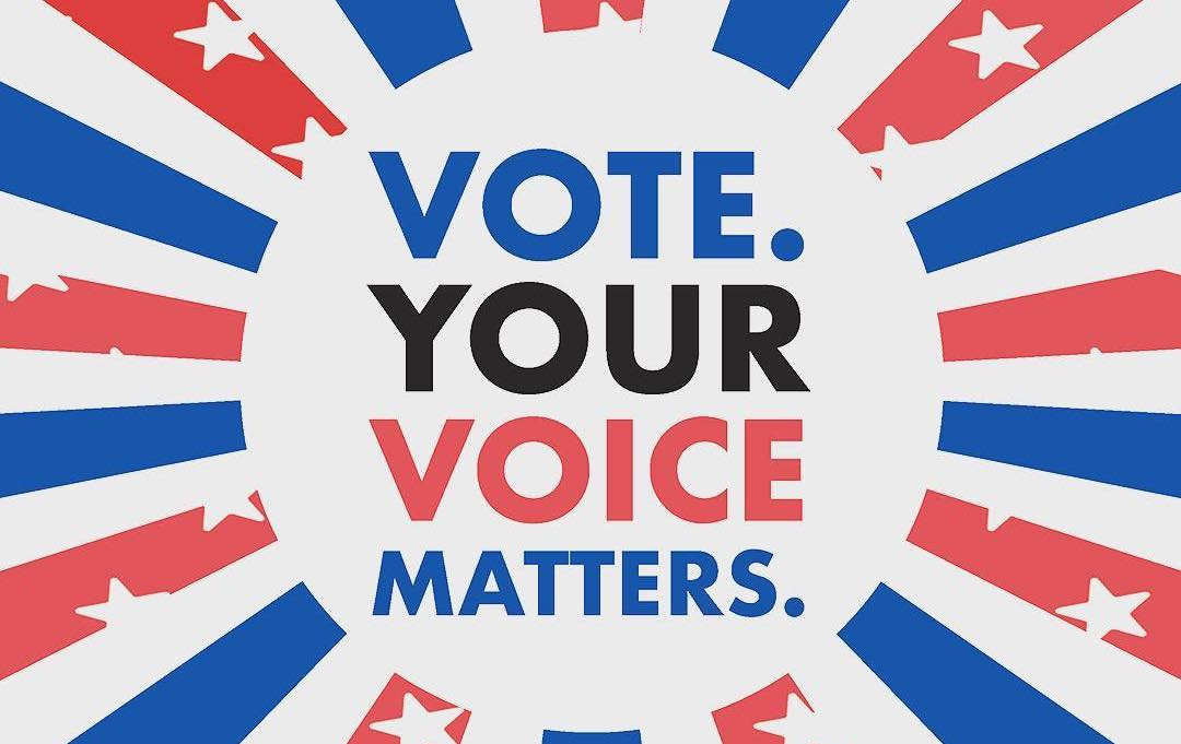 text vote your voice matters in front of red white and blue imagery