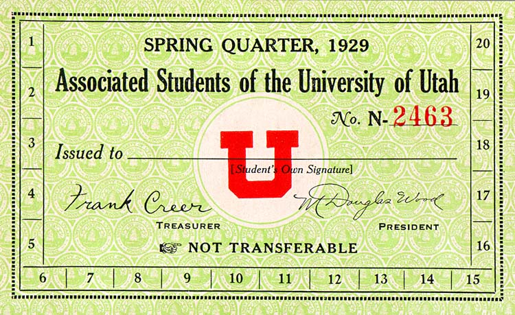 University of Utah Spring Quarter, 1929 Associated Students of the University of Utah card